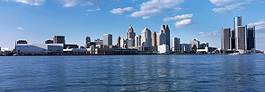 A depiction of the skyline of Detroit, Michigan.