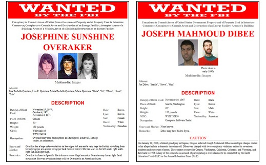 Joseph Dibee and Josephine Overaker are wanted for their alleged role in a domestic terrorism cell. Many of the crimes they are accused of participating in were claimed to be committed by the Earth Liberation Front (ELF) or the Animal Liberation Front (ALF).