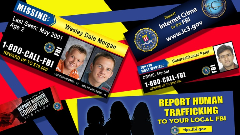 A composite image depicting a collage of various digital billboards issued by the FBI in partnership with the outdoor advertising industry.