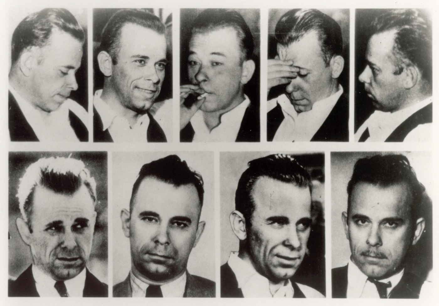 Nine images showing the face of John Dillinger as it changed over the years.