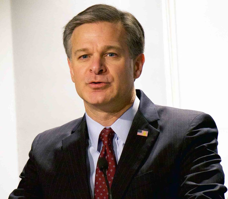 FBI Director Christopher Wray addresses the audience at the 2017 Director's Community Leadership Awards ceremony at FBI Headquarters on April 20, 2018.