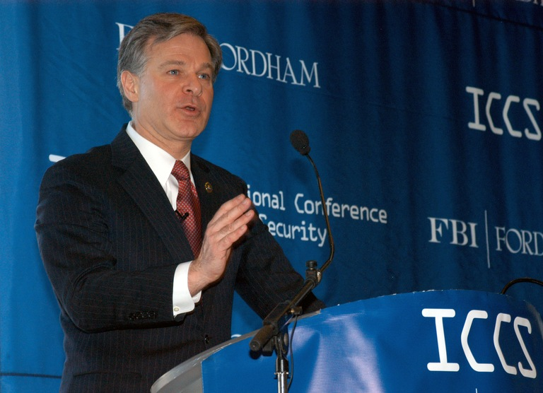 FBI Director Christopher Wray speaks at the International Conference on Cyber Security at Fordham University in New York City on January 9, 2018.