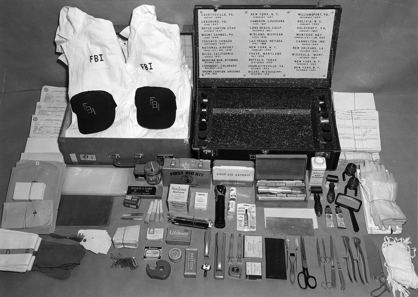 Tools and equipment of early FBI Disaster Squad, formed in August 1940 to help identify victims of airline crashes and other events.