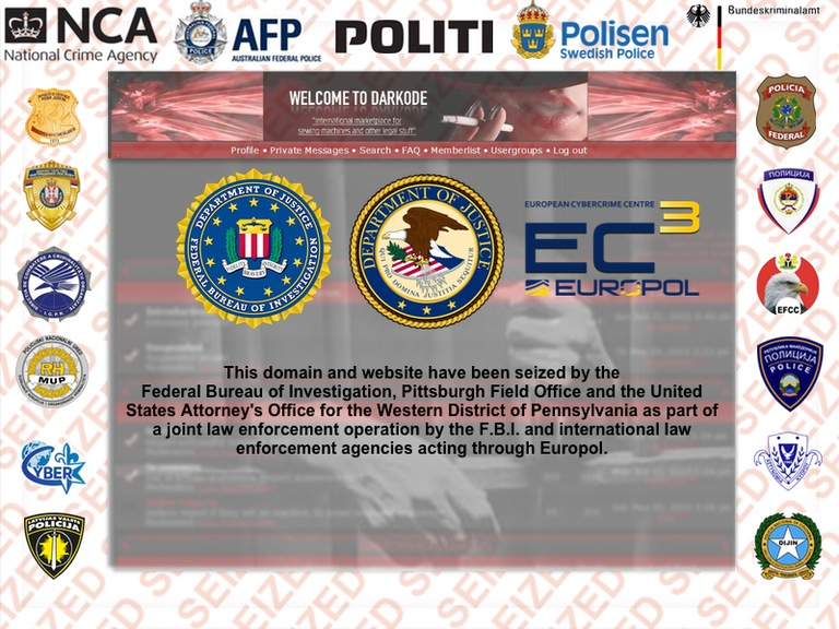 The above message was displayed on the Darkode homepage after the FBI seized its web domain and servers.