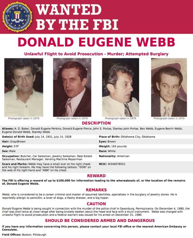 Screenshot of Donald Eugene Webb's Wanted by the FBI poster featuring newly acquired photographs.