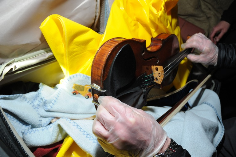 The Lipinsky Stradivarius, shown here shortly after recovery in 2014, is 300 years old and valued at more than $5 million. The stolen violin was recovered in excellent condition.