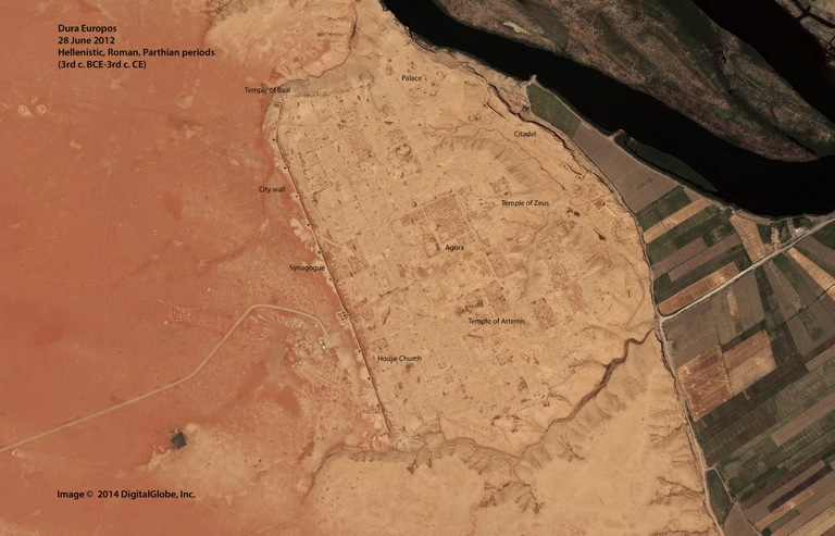 Satellite imagery of Dura Europos, a 150-acre site in Syria dating to 300 B.C., shows how it looked in 2012 (left) and as it appeared in 2014 covered by looters' pits.
