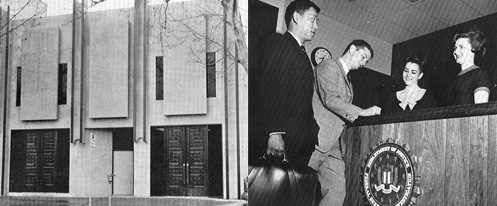 The front of the first Sacramento building; two of the first agents are greeted by receptionists.