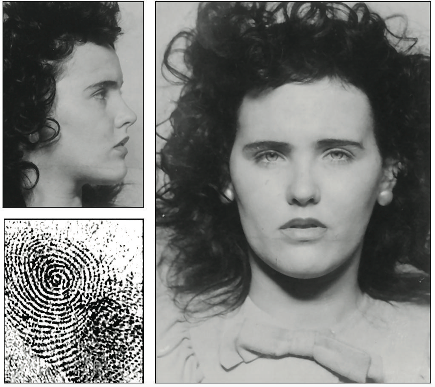 "Mug shots and fingerprint of Elizabeth Short, aka the ""Black Dahlia,"" who was brutally murdered in January 1947. The FBI provided Short's prints and mug shots from its files to the press after her murder."