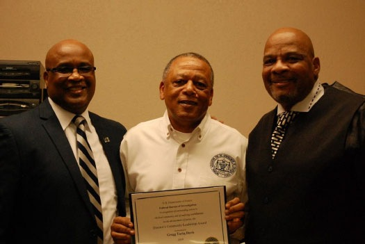 SAC Emmerson Buie, Jr., Mr. Gregory Dwayne Davis, and NAACP Director Michael Grady during the award presentation at the NAACP Office in El Paso, Texas.