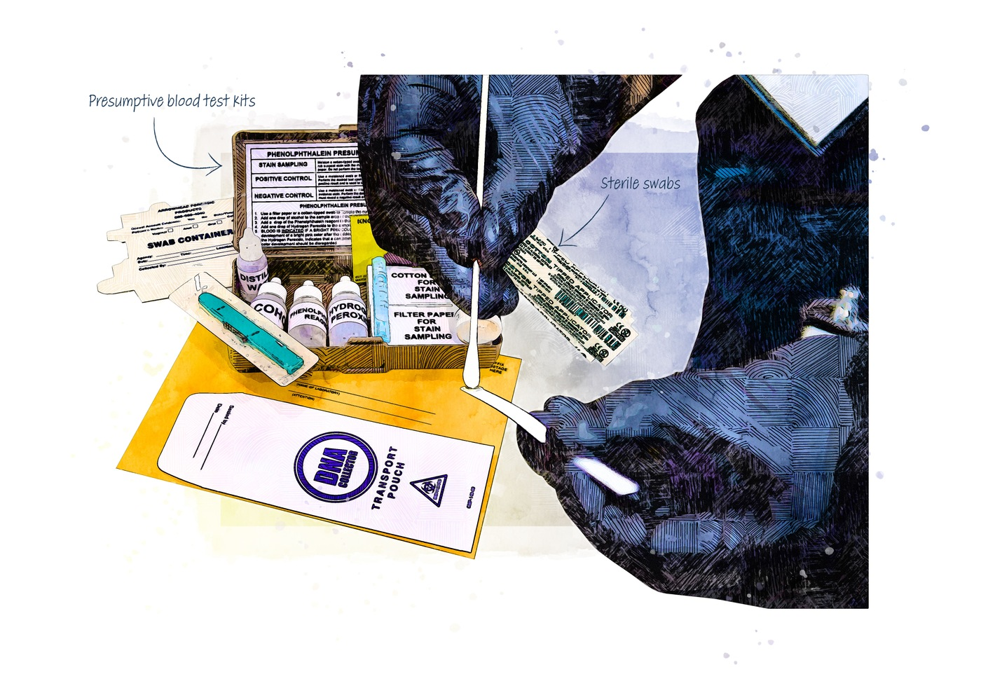 Illustration of the field tests that evidence teams use to see if blood may be present and the swabs used to collect evidence.