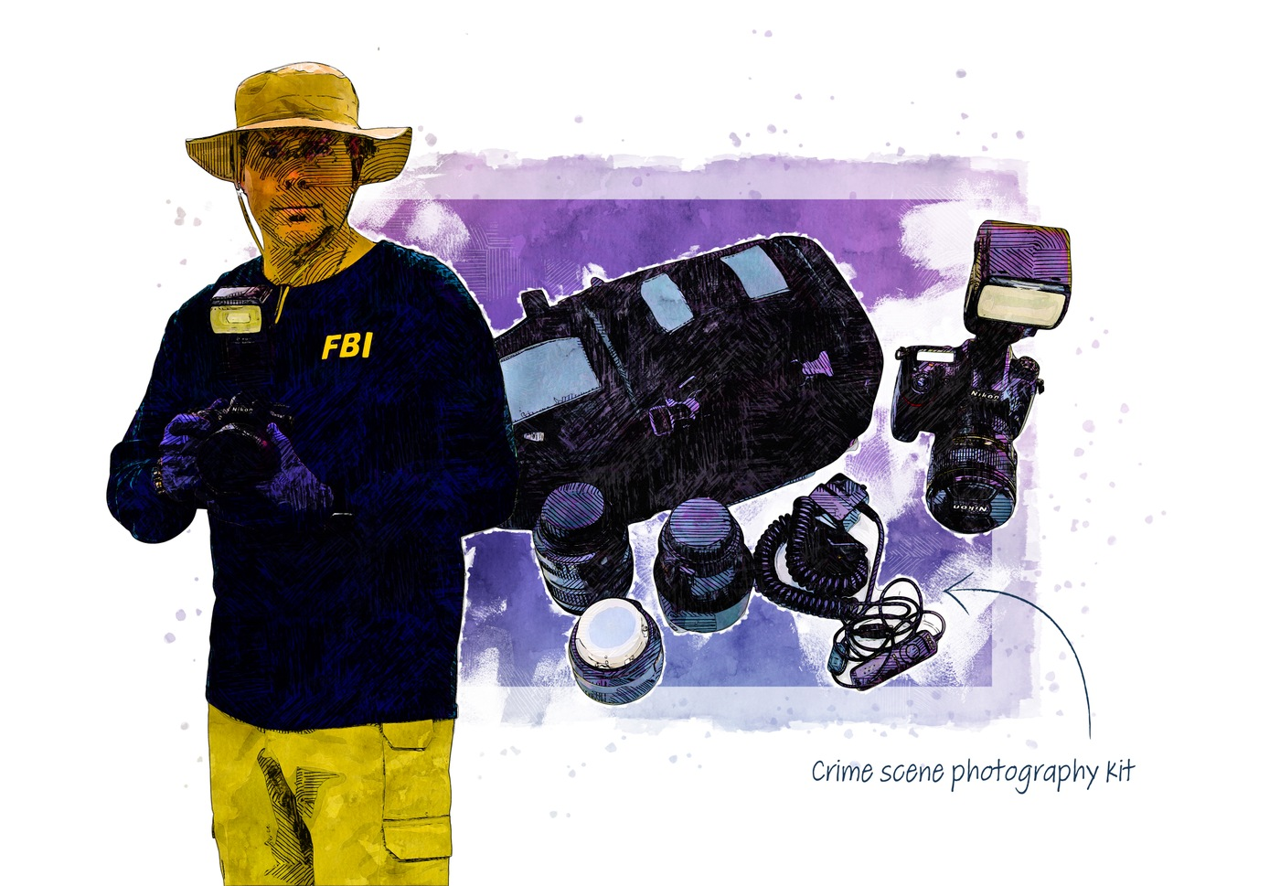 Illustration of a crime scene photographer and equipment.