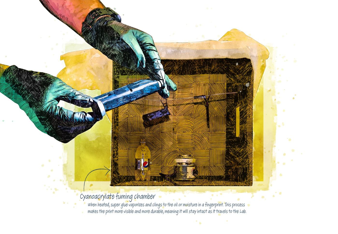 A crime lab in Japan discovered that super glue fumes can enhance and preserve fingerprints on a hard surface.