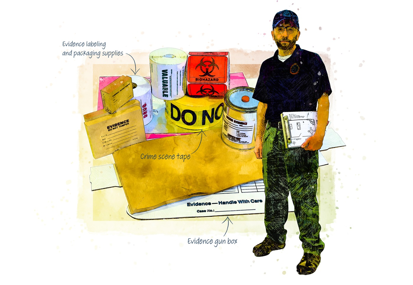 Illustration of crime tape and material used to package crime scene evidence.