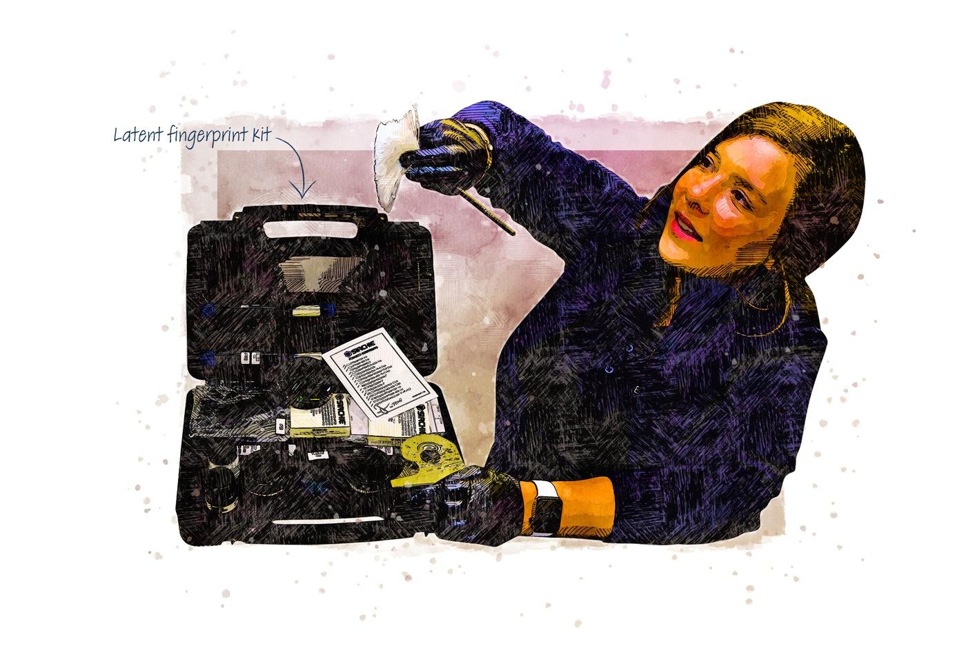 Illustration of the crime scene fingerprint kit that helps teams uncover and collect fingerprints.