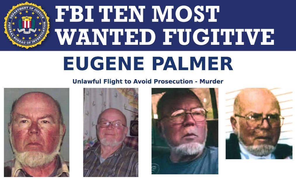 Screenshot of top portion of Eugene Palmer's Ten Most Wanted Fugitive poster.