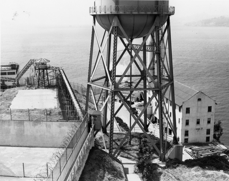 The outside of Alcatraz prison. The area at the lower right leads to the water line and is believed to be the way the men went to launch their raft as they escaped in June 1962.