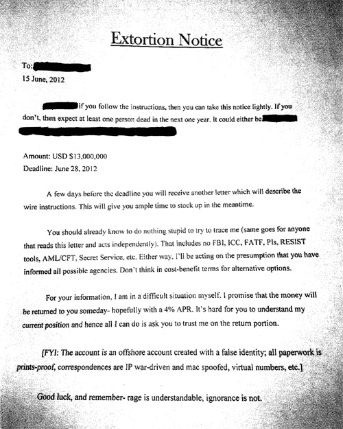 An excerpt of a letter from Vivek Shah, who attempted to extort more than $120 million from seven prominent victims in 2012.