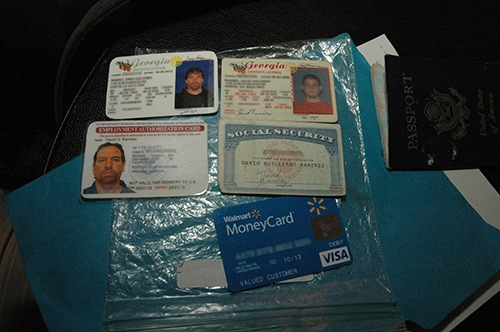 When he was arrested on New Year's Eve day in 2013, Aubrey Lee Price had been on the run for nearly 18 months. To manage his life as a fugitive, Price created fake ID cards for himself like the ones shown here.
