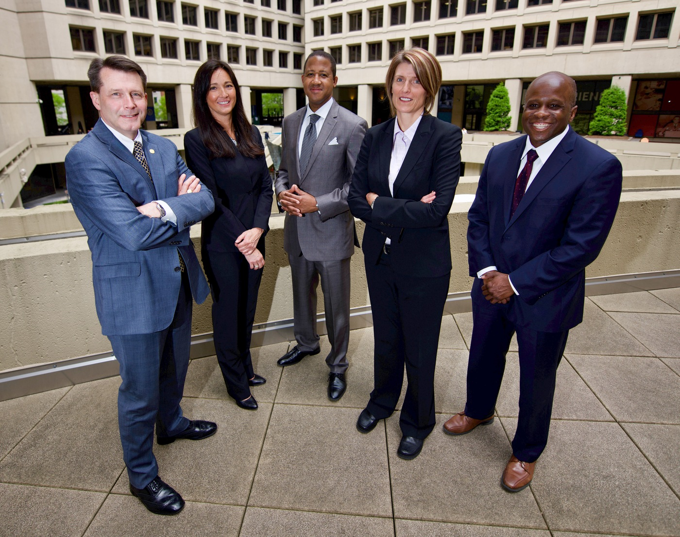 """FBI executive assistant directors (from left) Darrin E. Jones, IT Infrastructure Division; Larissa L. Knapp, Human Resources Branch; M.A. """"Mo"""" Myers, Intelligence Branch; Jill Sanborn, National Security Branch; and Brian Turner, Criminal, Cyber, Response, and Services Branch."""
