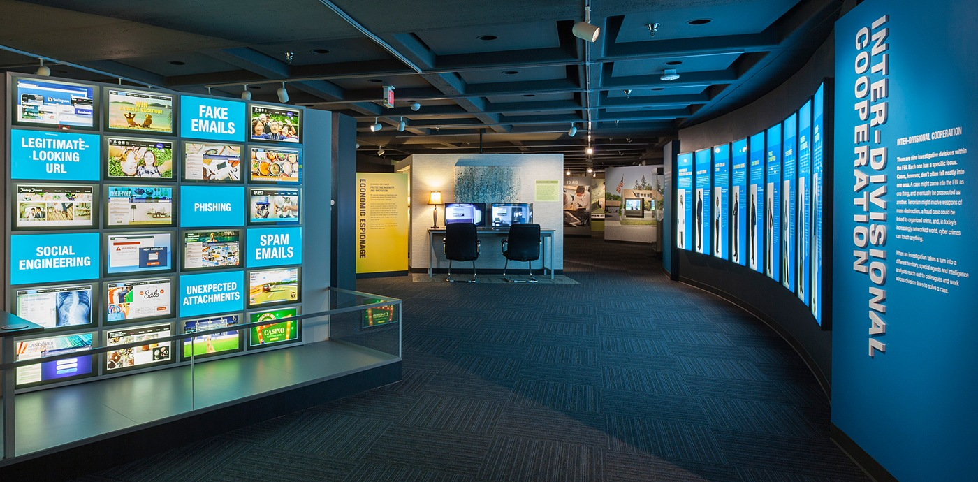 Exhibits on display at The FBI Experience tour at FBI Headquarters in Washington, D.C.