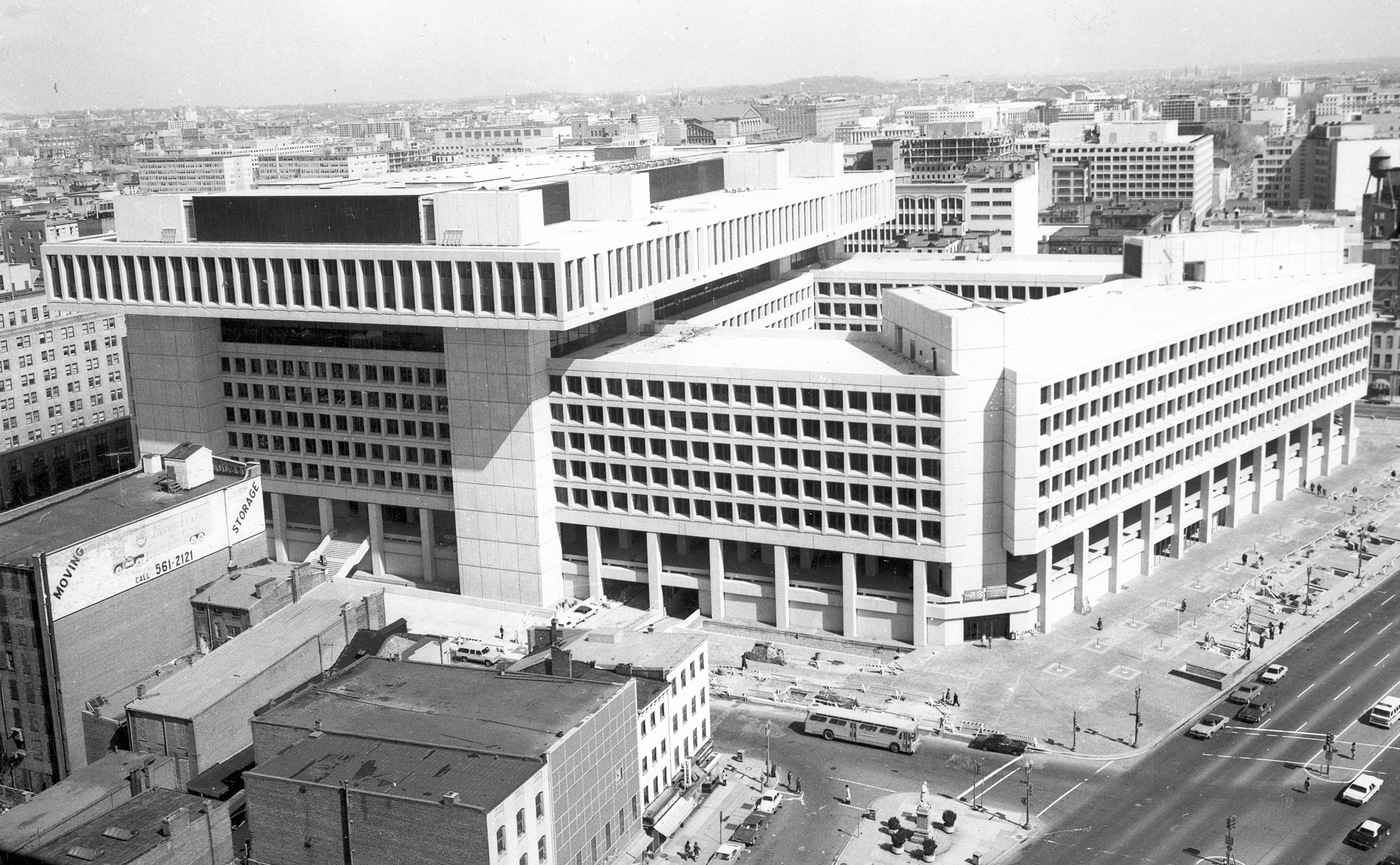 The FBI Headquarters building at 935 Pennsylvania, NW, in Washington, D.C., as its construction was just finishing up.