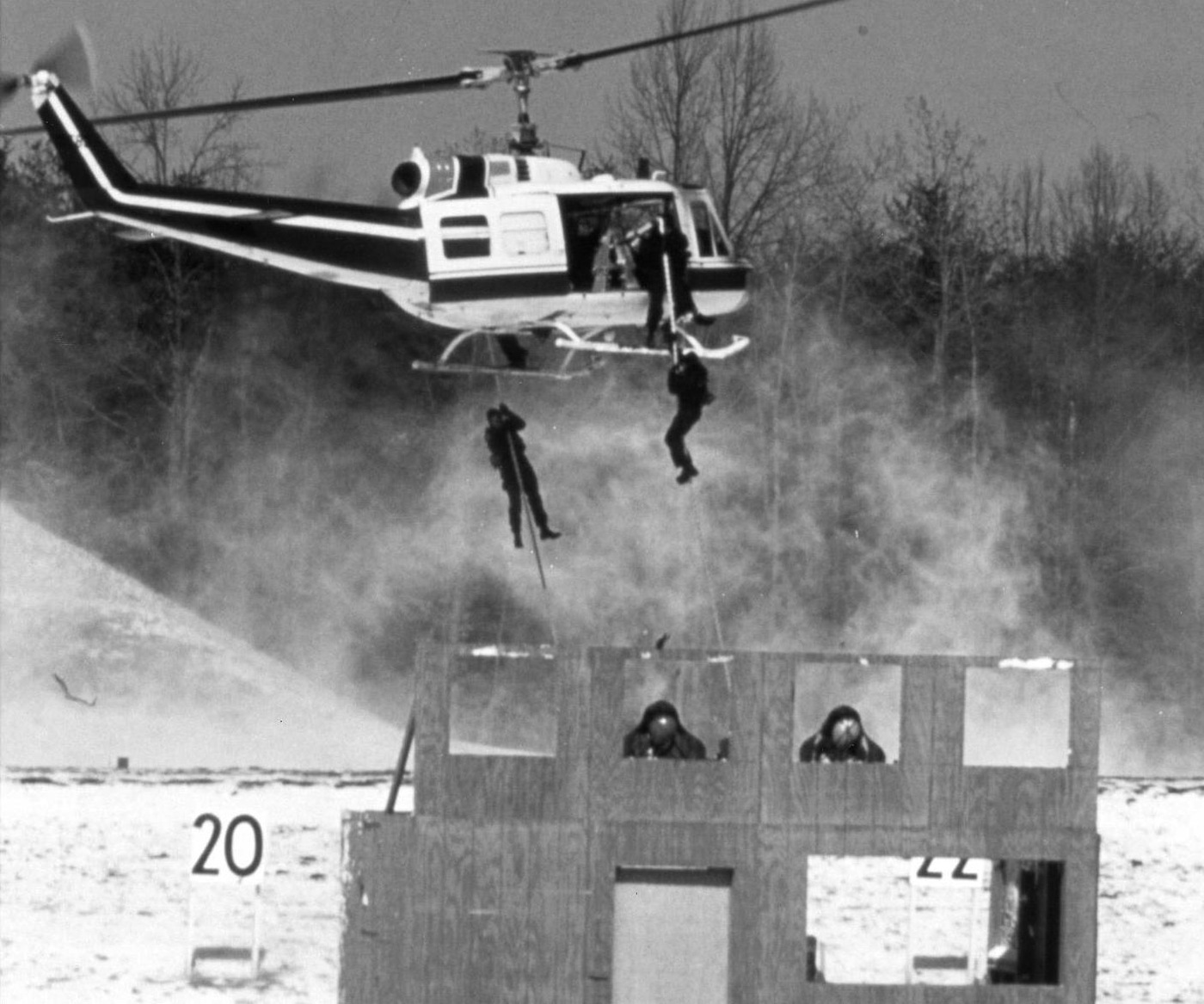 Hostage Rescue Team training exercise with HRT members rappelling from a helicopter in the 1990s.