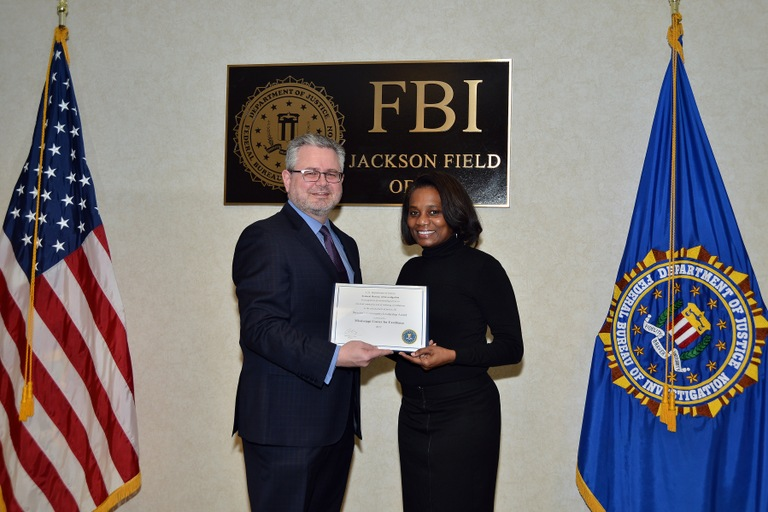 FBI Jackson Division Announces Director's Community Leadership Award Presented to Mississippi Center for Excellence