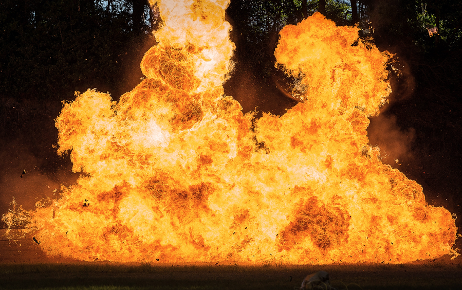 Flammables ignite during a demonstration by the Jacksonville Field Office's special agent bomb technician.