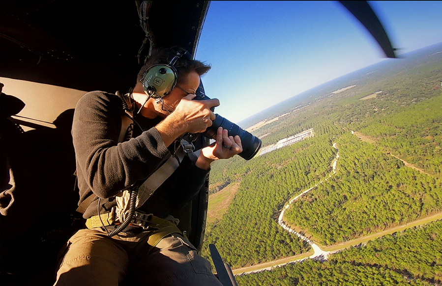 FBI Jacksonville photographer gets an elevated view of a crime scene from a helicopter.