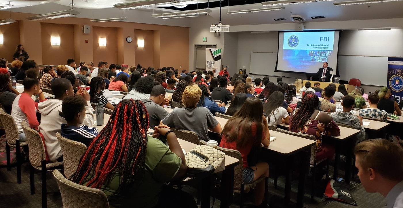 Classroom of students participating in FBI Las Vegas' 2019 Teen Academy.