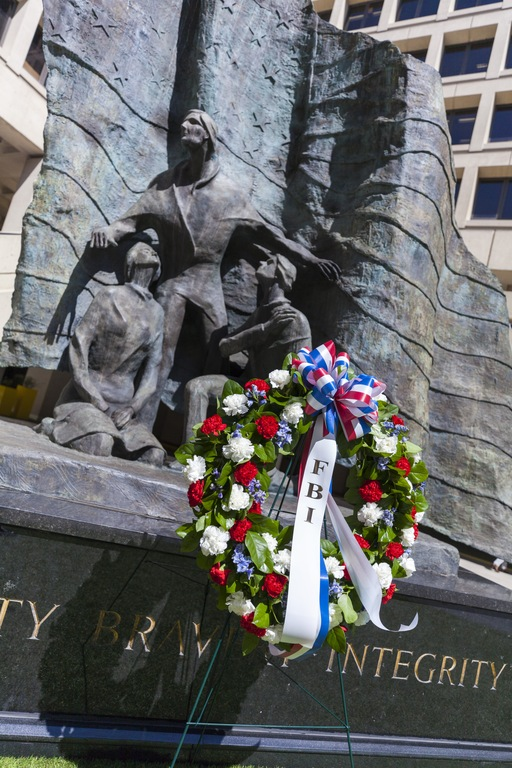 A wreath honoring fallen FBI agents was laid at FBI Headquarters on May 9, 2018 as part of the annual Special Agent Memorial Service.
