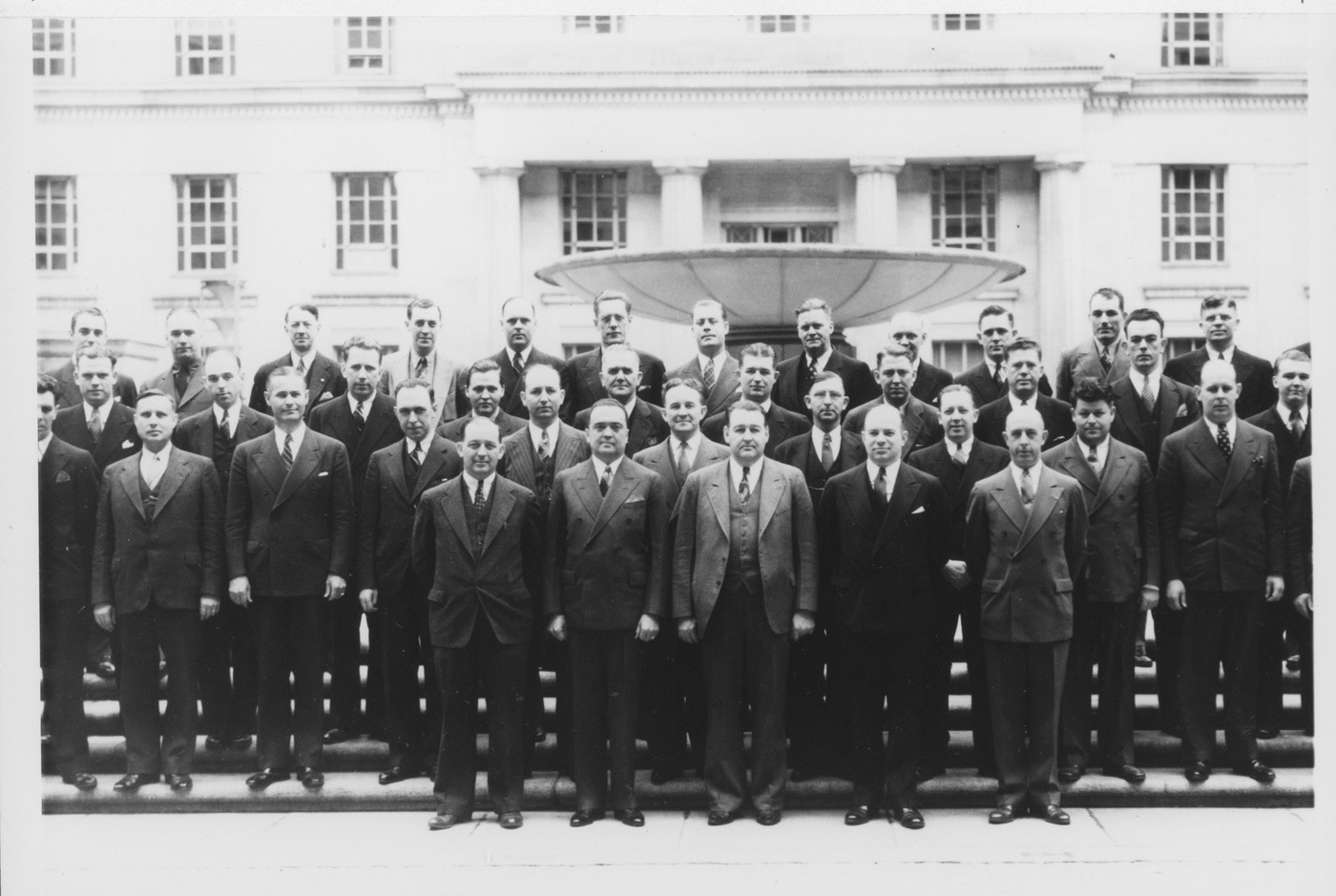 Black and white photo of seventh FBI National Academy class, April 1938.