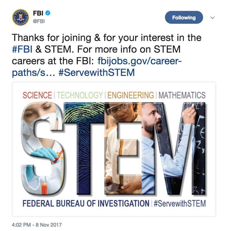 On November 8, 2017--National STEM Day--the FBI hosted a live Twitter chat to discuss STEM and the FBI.