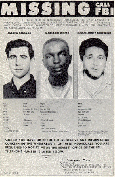 FBI Poster of Missing Civil Rights Workers