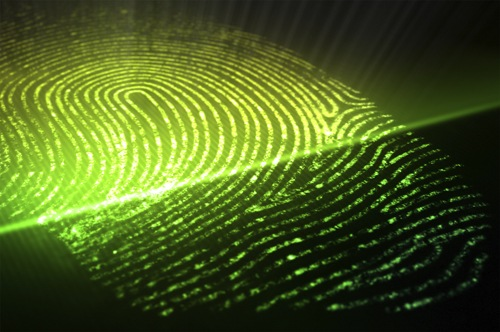 Fingerprint Being Scanned with Green Light