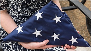Flag given to the family of fallen FBI Agent Chris Lorek.
