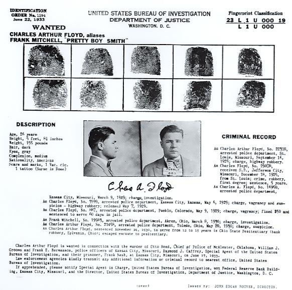 "Identification Order No. 1194 for Charles Arthur ""Pretty Boy"" Floyd, wanted for his role in the Kansas City Massacre."