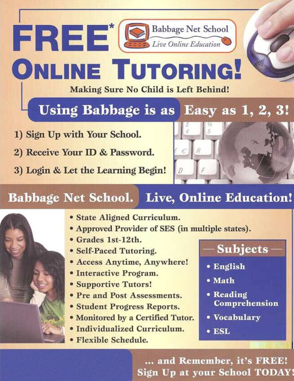 Advertising flyer used by owners of the Babbage Net School in Illinois that fraudulently promised online tutoring services never provided.