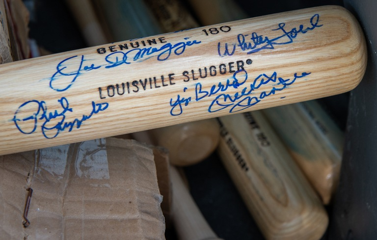 Baseball Bat with Forged Signatures