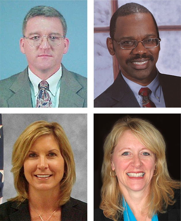 Clockwise from top left are fallen agents Rex Stockham, Rickey O'Donald, Laurie Fournier, and Melissa Morrow, whose names were added to the Bureau's memorial Wall of Honor in 2018.