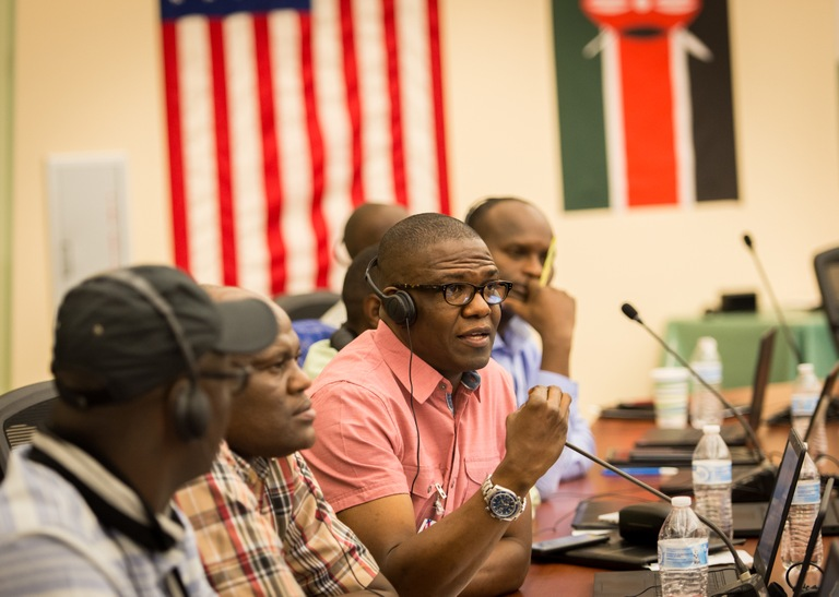 Nigeria Police Force delegate Frank Emeka speaks about countering violent extremism at the International Law Enforcement Academy (ILEA) in Roswell, New Mexico in April 2018.