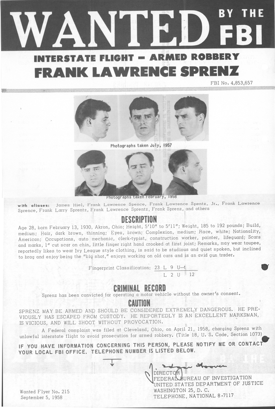 Wanted by the FBI poster for former Ten Most Wanted Fugitive Frank Sprenz