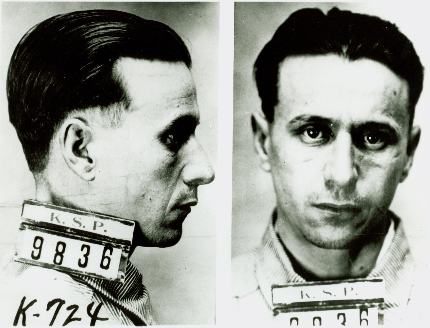 Mugshot of Fred Barker of the Barker-Karpis gang following his arrest in 1926. Fred Barker (1901-1935) was the third oldest of the Barker brothers. He died with his mother following a shootout with Bureau agents in Florida on January 16, 1935.