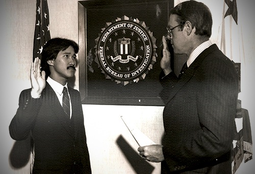 Fred Wong Taking the FBI Oath in 1982
