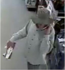 Suspect who may be responsible for two armed robberies in Georgia in August 2015 and May 2016. The suspect in each case is wearing a wide brim hat that is commonly called a boonie hat.