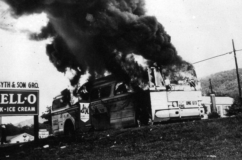 Firebombed greyhound bus in Anniston, Alabama, on May 14, 1961 used by freedom riders to challenge the refusal to enforce U.S. Supreme Court decisions that ruled segregated public buses were unconstitutional.