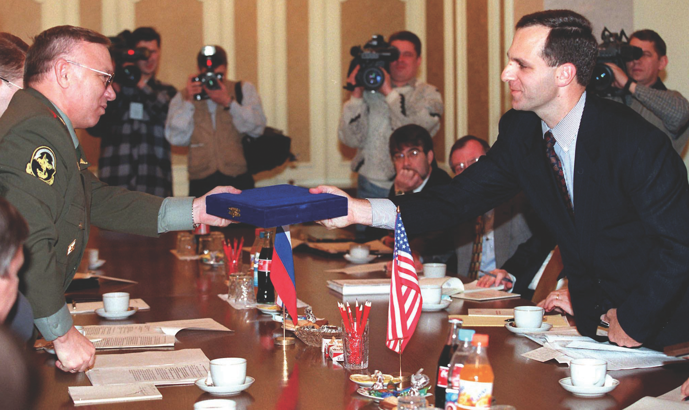 Director Freeh presents awards to the Russian Interior Minister in Moscow in 1997. Freeh traveled the globe during his tenure building stronger law enforcement relationships to battle terrorism, international organized crime, and drug trafficking. Reuters photo.
