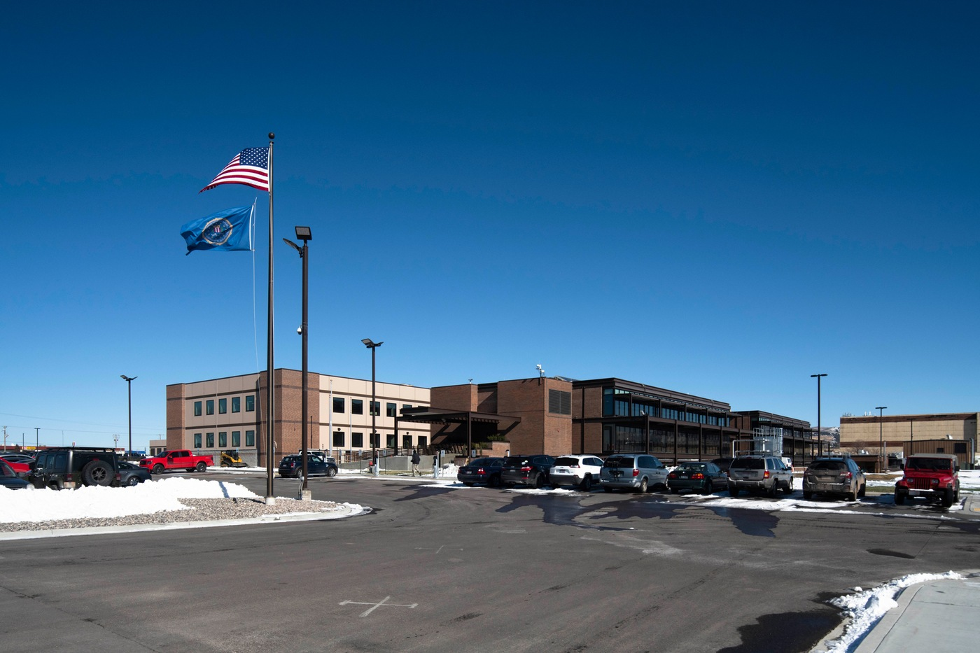 Exterior front view of the FBI's facility in Pocatello, Idaho, where a ribbon-cutting ceremony for its new data center was held November 18, 2019.