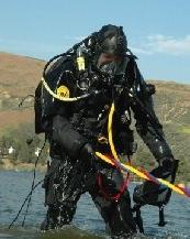 Diver with Rope in Water